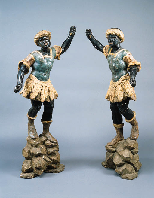 A PAIR OF VENETIAN ROCOCO PARCEL-GILT AND POLYCHROME-DECORATED BLACKAMOOR FIGURES