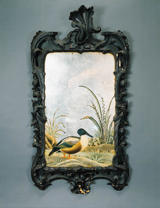 A CHINESE EXPORT REVERSE-PAINTED MIRROR