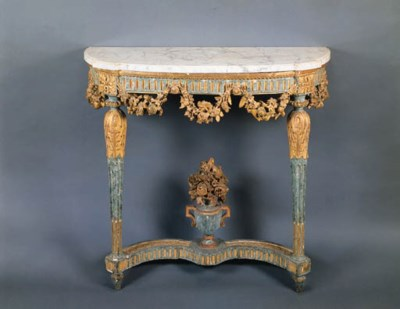 A LOUIS XVI BLUE-PAINTED AND P