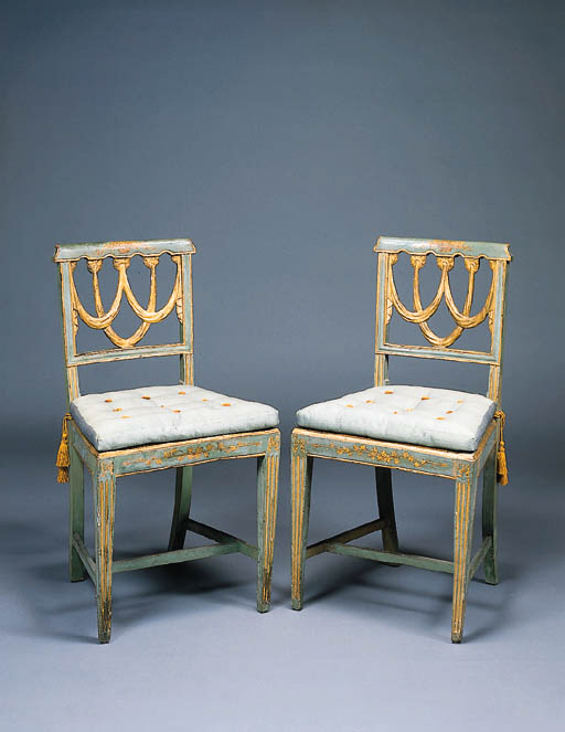 A SET OF SIX ITALIAN NEOCLASSIC BLUE-PAINTED AND PARCEL-GILT DINING-CHAIRS