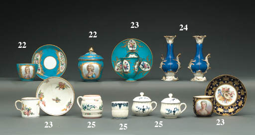 TWO SÈVRES CUPS AND SAUCERS