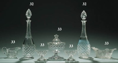 A PAIR OF BACCARAT GLASS BOTTL