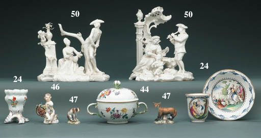 TWO MEISSEN MINIATURE MODELS O