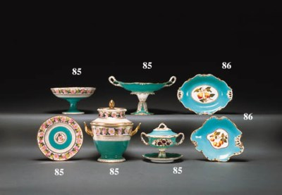 A COALPORT TURQUOISE-GROUND PA