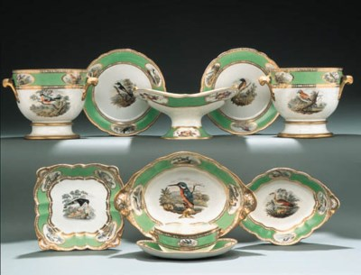 A SPODE GREEN-GROUND ORNITHOLO
