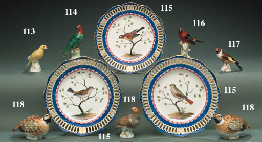 FOUR MEISSEN LATER-DECORATED R