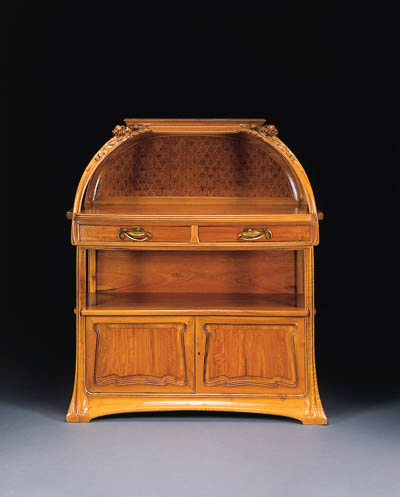 A CARVED MAHOGANY AND MARQUETR