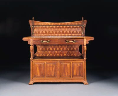 A CARVED MAHOGANY, MARQUETRY,