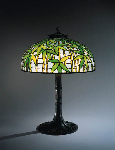 A 'BAMBOO' LEADED GLASS AND BR