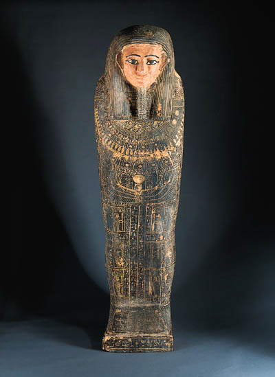 A WOOD ANTHROPOID SARCOPHAGUS