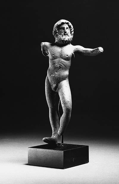 A ROMAN BRONZE FIGURE OF JUPIT