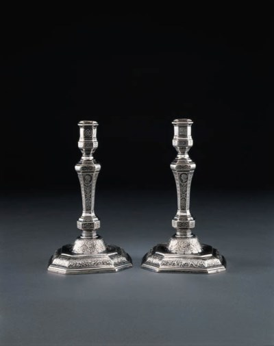 A PAIR OF LOUIS XIV SILVER CAN