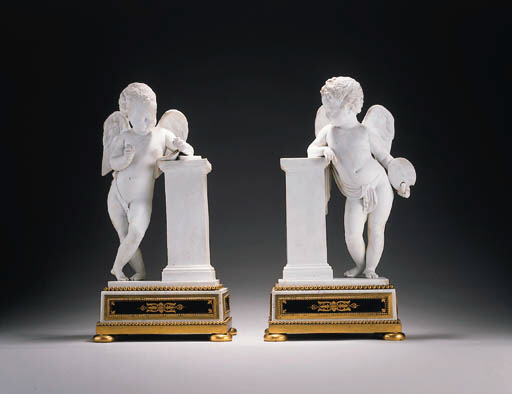 A PAIR OF SÈVRES BISCUIT FIGUR