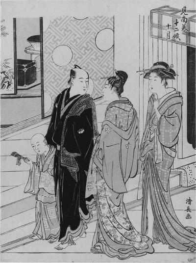 "KIYONAGA: chuban tate-e (25.8 x 19.2cm.); Jugatsu ""Tenth month"", from the series Minami juniko ""Twelve months in the south [the licensed quarters in Shinagawa]"", signed Kiyonaga ga--good impression, slightly faded, otherwise good condition"