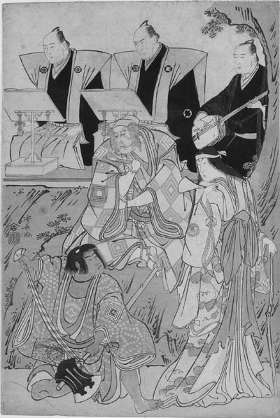 KIYONAGA: oban tate-e (38.6 x 26cm.); a portrait of the actors Ichikawa Danjuro V as Ninnaji Saibei, Segawa Kikunojo III as Yamauba and Ichikawa Monnosuke II as Kintoki in front of three chanters at the back of the stage (degatari), from the play Shitenno Oeyama iri, performed at the Kiriza theater in the eleventh month of Tenmei 5 (1785), signed Kiyonaga ga and published by Nishimuraya Yohachi--very good impression, slightly faded and soiled, slightly creased, horizontal and vertical fold lines, a few minor restorations