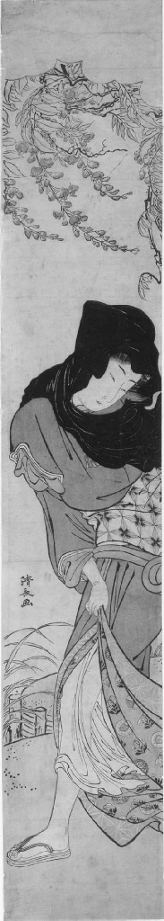 KIYONAGA: hashira-e (69.8 x 12.2cm.); a full-length portrait of a woman in black hood under wistaria pulling her skirt together in a breeze, signed Kiyonaga ga--good impression, faded, slightly foxed and stained, some horizontal fold lines and slight crease along chain lines, an ink smudge and a pin hole