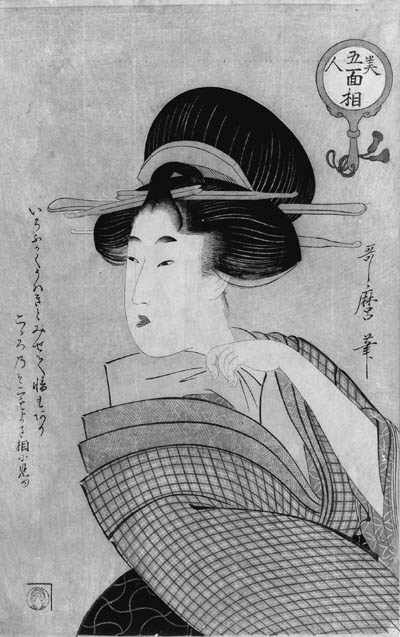 """UTAMARO: oban tate-e (39.3 x 24.7cm.); a beauty arranging the collar of her kimono, from the series Bijin gomenso """"Five physiognomies of beauties"""", signed Utamaro ga and published by Tsuruya Kinsuke--very good impression, good color, slightly soiled, slight creases along chainlines, minute worm holes"""