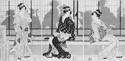 "EIZAN: oban tate-e (38.2 x 25.5cm.); a triptych entitled Furyu yusuzumi san bijin ""Three fashionable beauties enjoying the evening cool"", three beauties on a veranda enjoying the cool of the evening while others inside enjoy the party, signed Kikukawa Eizan hitsu and published by Yamadaya Shojiro--good impressions, faded, some minute worm holes, slight stain along edges, a minor stain on the right panel, laid down, matted"