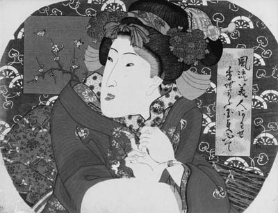 """KUNISADA: aiban uchiwa-e (22.7 x 29.9cm.); a half-length portrait of a beauty with a koto and a plectrum, a cloud-patterned cartouche with the title Furyu bijin awase """"Collection of fashionable beauties"""" and signature Kochoro Kunisada fude, the backdrop of Carriage wheels on a purple ground and the crest on her hair pin alluding to """"Waka-murasaki"""", chapter 5 of The Tale of Genji, censor's seal corresponding to 1835--fine impression and color, slight stain along side edges, binding holes on both side, some minor worm holes on the bottom, lower left corner slightly soiled"""