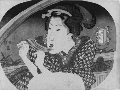 """KUNIYOSHI: aiban uchiwa-e (22.7 x 30.3cm.); illustrating a woman eating eel on skewers on a terrace, a rainbow in the background, the lantern-shaped cartouche inscribed with the title Haru no niji """"Rainbow in spring"""", signed Chooro Kuniyoshi ga, censor's seal corresponding to 1836, published by Tsujiya Yasubei--very good impression and color, slightly toned along right edge, very minor soiling along bottom edge and a few random stains"""