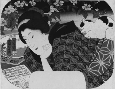 """KUNIYOSHI: aiban uchiwa-e (22.8 x 29.4cm.); a woman reading a libretto and a cat dozing on her back, from the series Enkyoku zoroi """"Collection of charming music"""", signed Ichiyusai Kuniyoshi ga, censor's seal corresponding to 1853, second month--very good impression and color, slightly stained along side edges, binding holes on left edge"""