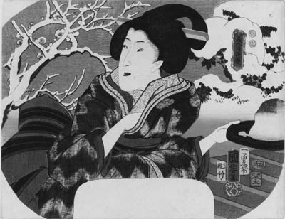 """KUNIYOSHI: aiban uchiwa-e (22.7 x 29.5cm.); a beauty on a terrace overlooking the flowering plum and bushes of a garden in snow carrying snow on a tray, the snow image from the series Bijin gekkasetsu """"Beauties, moon, flower and snow"""", signed Ichiyusai Kuniyoshi ga, censor's seal corresponding to 1853, second month, published by Kojimaya Jubei--very good impression and color, slightly stained along edges, minute tear on upper left margin, otherwise good condition"""