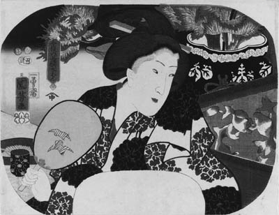 """KUNIYOSHI: aiban uchiwa-e (22.8 x 29.5cm.); Mizuban """"Water guard"""", a woman standing by a tank of goldfish, from the series Imayo rokkasen """"Six modern choices for summer"""", signed Ichiyusai Kuniyoshi ga, the censor's seal corresponding to 1853, second month, published by Izumiya--very good impression and color, very slight stain along side edges, otherwise good condition"""