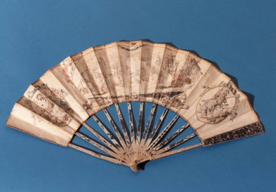 A POLYCHROME DECORATED FAN