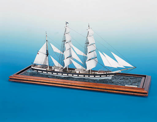 """A FINE AND DETAILED 1:100 SCALE WATERLINE DISPLAY MODEL OF THE COMPOSITE CLIPPER """"CYGNUS"""" OF CIRCA 1880"""