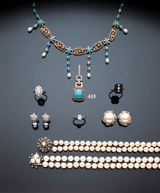 A DIAMOND, TURQUOISE AND RUBY