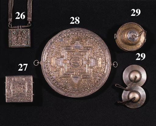 a tibetan partly gilt-silver repousse mandala container