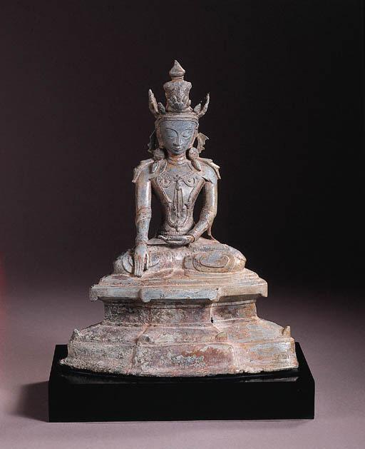 a burmese, arakan style, bronze figure of buddha sakyamuni