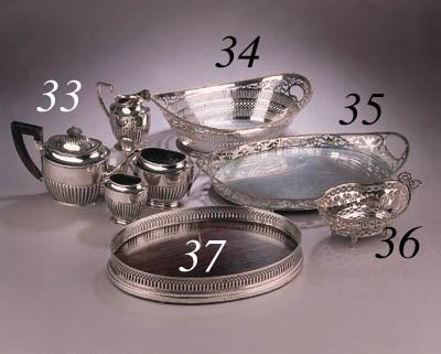 A Dutch silver bread basket, a