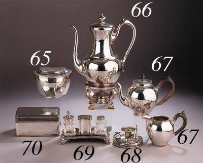 A Dutch silver tea pot and mil