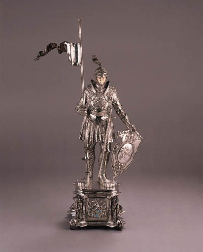 A fine German silver statue of