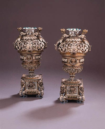A pair of parcel-gilt and enam