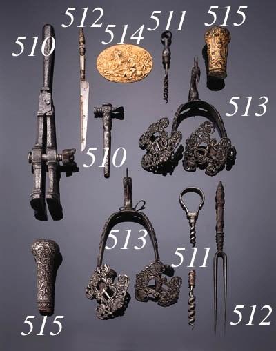 An iron and a gilt-metal walki