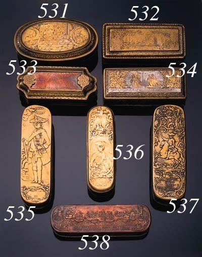 A copper and brass tobacco box