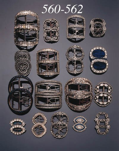 Six pairs of metal and paste-s