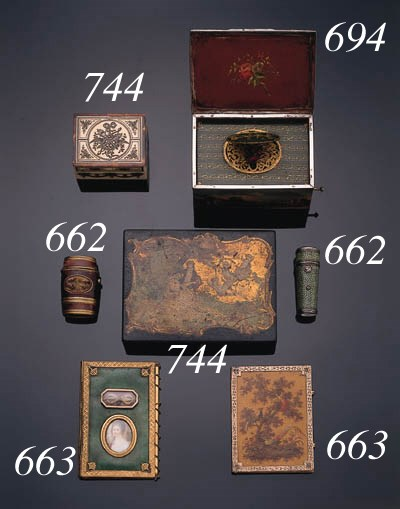 Three various boxes, an imitat