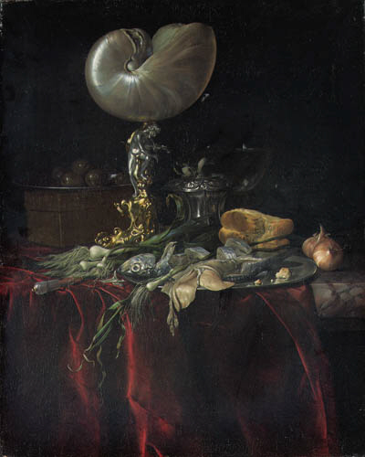 willem van aelst delft 1627 1686 amsterdam a nautilus cup a pickled herring and a fillet on. Black Bedroom Furniture Sets. Home Design Ideas