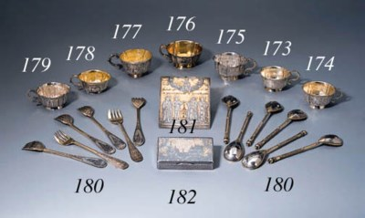 A set of six parcel-gilt and n