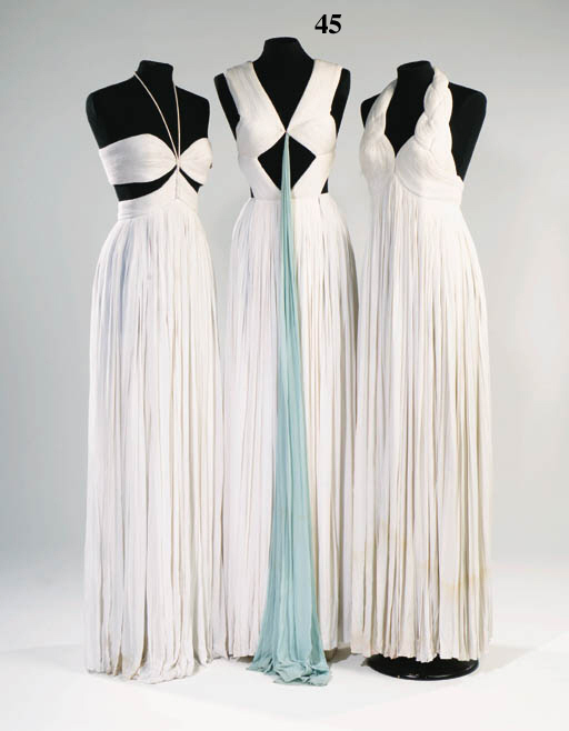 A long Grecian evening dress,