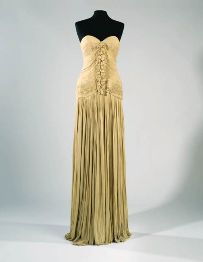 A long strapless evening dress