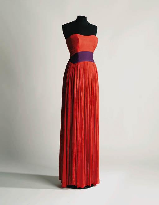 A long strapless evening dress