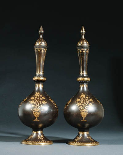 A PAIR OF QAJAR DAMASCENED STE