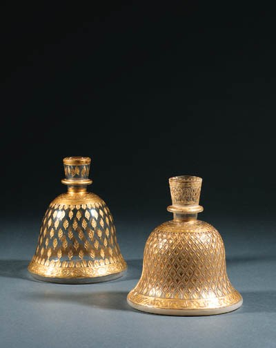 TWO MUGHAL GLASS HUQQA BASES