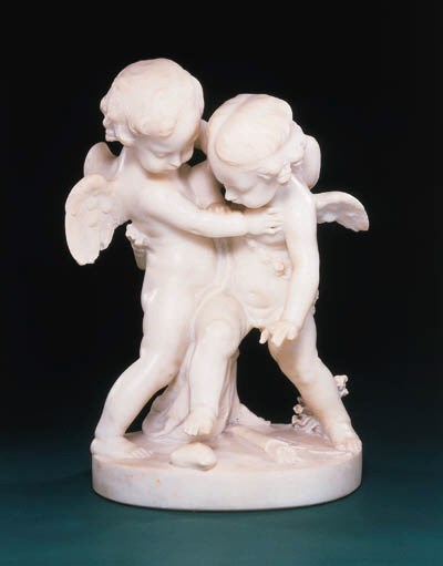 A MARBLE GROUP OF TWO PUTTI