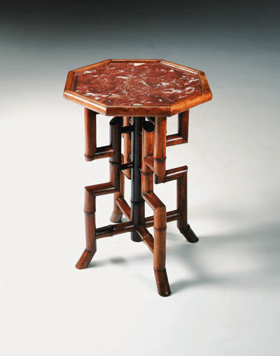 AN OCTAGONAL BAMBOO AND MARBLE
