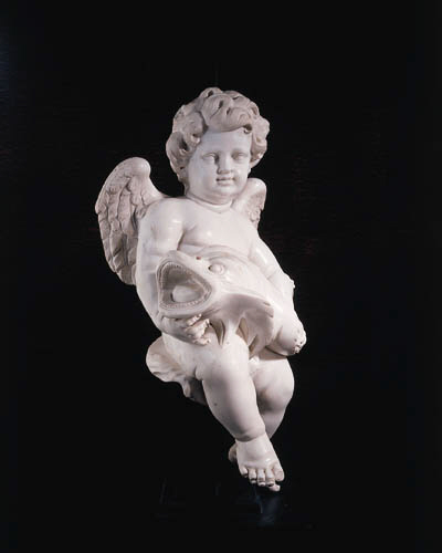 A PAIR OF MARBLE FIGURES OF AN